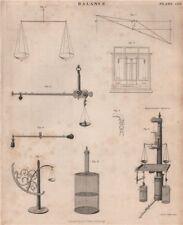 Balance. Hydrostatic Balance. Victorian engineering. BRITANNICA 1860 old print