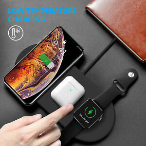3In 1 Qi Wireless Charger Fast Charging Pad Air pods Apple Watch iWatch iPhone X