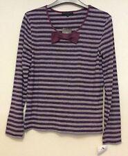 Ladies Betty Jackson Studio Size M purple & silver striped stretch Top BNWT