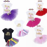 3PCS Baby Girl 1st Birthday Crown Romper Tutu Skirt Dress Party Headband Outfits