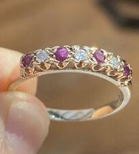 Stunning, Solid 9k Gold Diamond & Ruby Eternity Ring ~ 2.1g ~ Vintage Beauty 💎