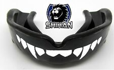 BLACK 'FANGS' Gum Shield Boxing Wrestling Judo MMA Mouth Protection - Senior