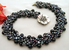 "18"" 6Strds Black Pearl Necklace"