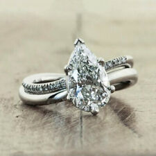 Engagement Ring For Women Size 9 Elegant Pear Cut White Sapphire 925 Silver