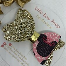 "🎀Handmade 3"" Minnie Mouse Princess Pink & White Glitter Girls Hair Bow 🎀"