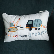 Authentic Kids CONSTRUCTION Deco BED PILLOW Truck CEMENT TRACTOR Blue boys 18""