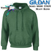 Gildan Heather Sport Dark Green Hoodie Heavy Blend Basic Hooded Sweat Mens