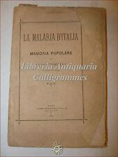 MEDICINA: Luigi Torelli, LA MALARIA D'ITALIA 1883 Memoria Popolare Roma Raro