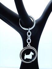 Scottish Terrier Key Holder or Purse Charm Rhodium plated