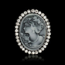 Vintage White Rhinestone Grey Victorian Cameo Pendant Women Party Brooch Gifts