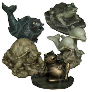 Bermuda Spitter Pond Ornaments Frog Dolphin Tortoise Fish Water Feature Ornament