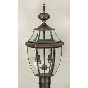 Quoizel NY9042AC 2-Light Newbury Outdoor Lantern in Aged Copper