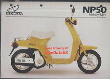 Honda-UK NP50 Melody Mini (1983-on) Data Sheet/Sales Brochure NP 50,Moped,AB14