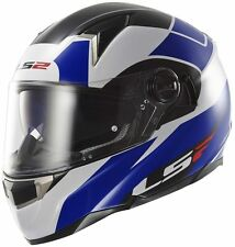 LS2 FF396 THUNDERBOLT FIBRE GLASS HELMET WITH SUN VISOR & AIR-PUMP BLUE SIZE XXL