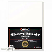 "100 - BCW Sheet Music Backing Boards - 9-1/4"" x 12-1/8"" - Certified Acid Free!"