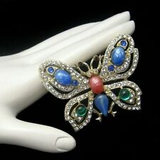 Vintage Rhinestone Butterfly Brooch Pin Mid Century Large Glass Stones Blue Red