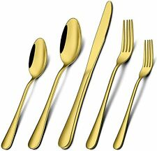 40-Piece Gold Silverware Set, Stainless Steel Flatware Set for 8