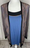 New Women ANN TAYLOR LOFT TANK AND  S/S CARDIGAN SWEATER Blue Stripe SIZE XL A