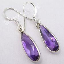 """925 Pure Silver AMETHYST Huge Drop Earrings 1.4"""", 2.3 Grams Women's Jewellery"""