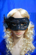Venetian Masquerade Carnival Party Eye Mask With Feather Lace Glitter