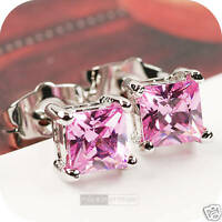 18k white gold gp made with square Swarovski crystal stud earrings pink 6mm
