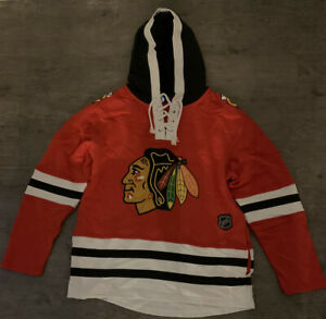 Brand New With Tags NHL Chicago Blackhawks Fleece Pullover Hoody Red Medium