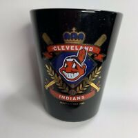 Cleveland Indians MLB Baseball Team Logo 2oz Shot Glass Cobalt Blue 1995 Vintage