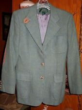 Lauren Ralph Lauren Green 100% Wool Equestrian Jacket w/ Elbow Patches Ladies 4