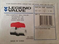 "Legend 1 1/2"" PVC ball valve 201-407 solvent weld ends NEW in Box"