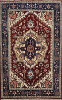 Geometric Indo Heriz Oriental Area Rug Hand-knotted Traditional Foyer Carpet 4x6