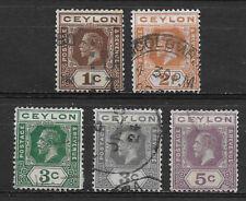 CEYLON , SRI LANKA , GEORGE V , 1921/33 , SET OF 5 STAMPS , USED