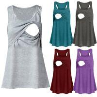 New Women Maternity Solid Nursing Tank Tops Vest Tunic Sleeveless T Shirt Blouse