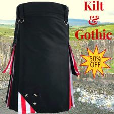 Sale on eBay Scottish Highland USA Flag Color Active Utility Black Kilt For Men