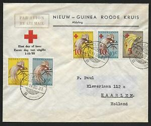 Netherlands New Guinea covers 1955 RED CROSS FDC AIRMAIL cover to Haarlem BIRDS