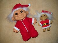 "VTG CHRISTMAS RUSS 8"" BOY TROLL LOT IN RED PAJAMAS, CAP & 4"" RUSS SANTA IN SUIT"