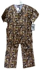 Camo Scrub Set M Med Couture Peaches Uniforms Unisex Natural Disguise New