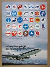 1975 McDonnell Douglas DC-10 Jet Airliner 34 Airline Logos vintage print Ad