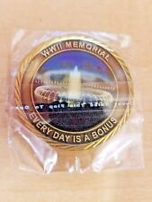 """WWII Memorial """"Every Day Is a Bonus"""" 5 Branches of Military Brass Challenge Coin"""