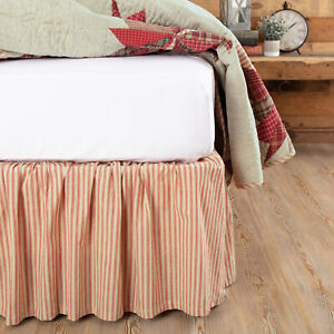 VHC Brands Farmhouse Queen Ticking Stripe Bed Skirt White Gathered Bedroom Decor