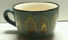 Pier 1 Peacock Feather Mug Latte Cappuccino Jumbo Cup Blue Black Rim