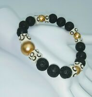 African Bone LAVA STONE STACKING STRETCH BRACELET