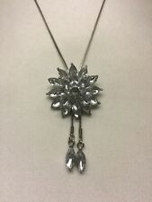 Necklace Floral Pendant Silver Coloured Jewellery Adjustable Length Flower