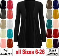 New Ladies Pocket Long Sleeve Cardigan Womens Top Size 8 10 12 14 16 18 20 *CrdG