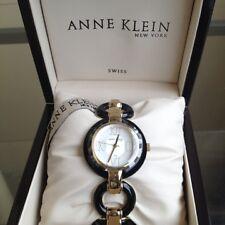 newstuffdaily: NIB ANNE KLEIN New York Goldtone and Black Ladies Swiss Watch