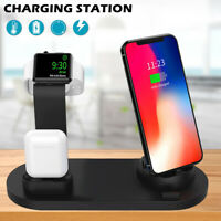 For iPhone 11 Pro Max XS Max 3 In 1 Wireless Charger Charging Station Dock Stand