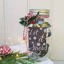 """Glass gift jar with 6 mini Christmas cookie cutters """"Let It Snow"""" Gisela Graham"""