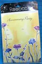 Anniversary Party Invitations 8 Cards & Envelopes by Roobee Floral Yellow Blue