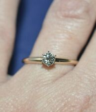 ROUND CUT .33 CTS J/VS2 DIAMOND 14 KT YELLOW GOLD SOLITAIRE ENGAGEMENT RING SZ 9
