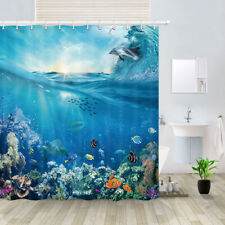 Ocean Sea View Waterproof Fabric Shower Curtain Bathroom Decor 71*71""