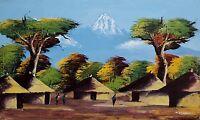 Vintage Impressionist African Landscape Original Oil on Canvas Painting Signed